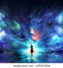 Abstract silhouette woman standing on water reflection of space, meteor and orbit