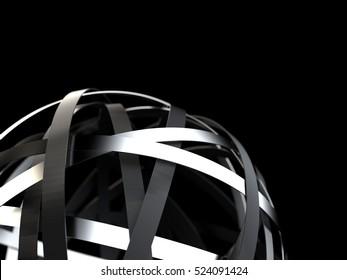 Abstract silver, metal rings. 3d render