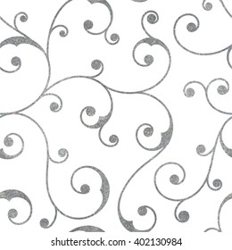 Abstract silver seamless vintage pattern with floral ornament. Design element for background, textile, paper packaging, wrapping paper and other. Raster copy of vector file.