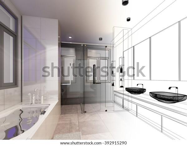 abstrakte Skizze im Innenbadezimmer