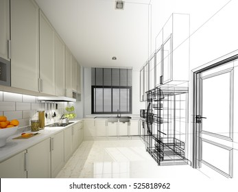 abstract sketch design of interior kitchen ,3d rendering
