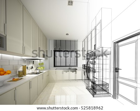 Abstract Sketch Design Interior Kitchen 3 D Stock Illustration