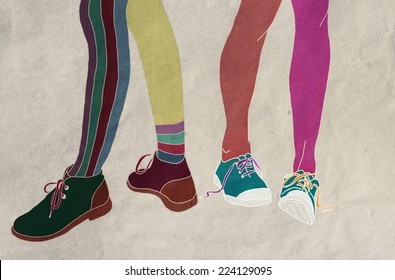 abstract sketch Female feet in shoes and sneakers, socks, striped, fashion and shopping,  disagreements, differences