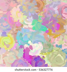 Abstract Sketch Painted Flowers in Multiple Colors