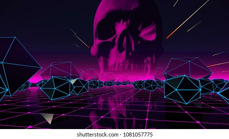 Abstract with skull for your event, concert 3D rendering