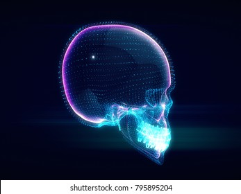 Abstract Skull,skull ,futuristic style.3d rendering