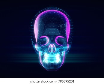 Abstract Skull,skull on ,futuristic style.3d rendering