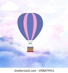 Abstract sky with air balloon illustration