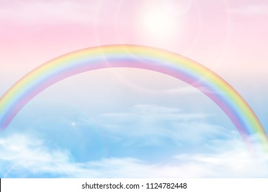 Abstract sky with color clouds. Sun and clouds background with a soft pastel color. Fantasy magical landscape background with colorful cloudy sunny sky, realistic bright rainbow, fluffy cloud. vector.