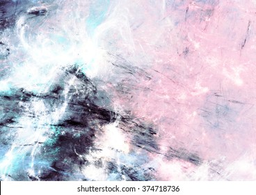 Abstract sky with shiny color clouds. Fantasy soft pattern with lighting effect. Beautiful painting background. Fractal artwork for creative graphic design