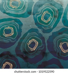 Abstract sliced geode design with rose gold metallic details overlaid on a petrol blue ombre watercolor texture.