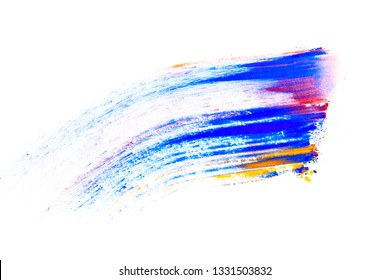 Abstract smear made of multicolored pigment, isolated on white. Mixed bright eye shadow predominantly  blue. Natural colored powder.