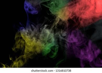 Abstract smoke isolated on black background,Rainbow powder