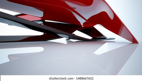 Abstract smooth architectural red and black gloss interior of a minimalist house with large windows. 3D illustration and rendering.