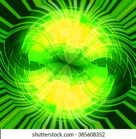 Abstract smooth light dark green circle background. Water waves. spiral, braid, whorl