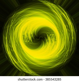 Abstract smooth light dark yellow circle background. Water waves. spiral, braid, whorl