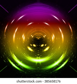 Abstract smooth light dark yellow purple green circle background. Water waves. spiral, braid, whorl