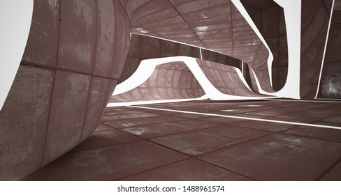 Abstract smooth room interior of sheets rusted metal . Architectural background. 3D illustration and rendering