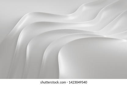 Abstract of smooth shape for architectural idea, Curve line ,White background with free form, 3D rendering