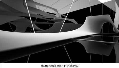 Abstract smooth white and black interior multilevel public space with window. 3D illustration and rendering.