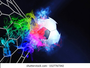 An abstract soccer ball that breaks through the goal net drawn in 3D illustration