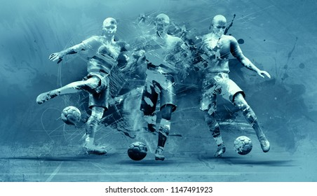 abstract soccer players;  3d illustration