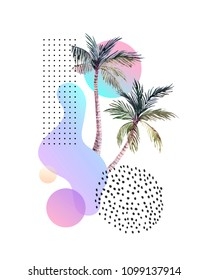 Abstract soft gradient blur, colorful fluid and geometric shapes, watercolor palm drawing. Modern design with hand painted elements in retro vintage 80s 90s style, tropical summer background