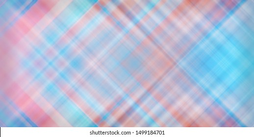 Abstract soft pattern of pastel blue and pink diagonal checkered lines. Textile textured background.
