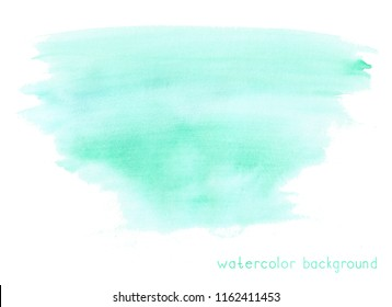 Abstract soft watercolor on white background. Green color.