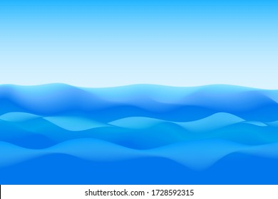 Abstract soft wave of blue ocean and sky. Raster version.