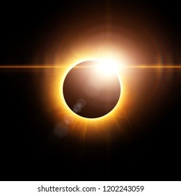 Abstract solar eclipse background with 3d rendered flares.