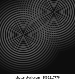 Abstract sound waves oscillating gray color on black background