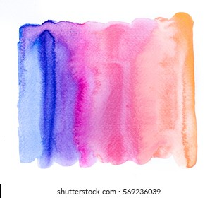 Abstract Space hand painted watercolor wet background. Colorful template. There is blank place for your text, textures design art work,  creative wallpaper or skin product.  Pastel colors
