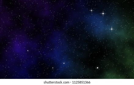 Abstract space scape illustration astronomy galaxy design background with gas clouds and stars field in deep universe.