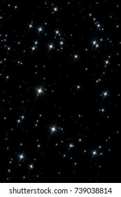 Abstract space universe pattern: twinkling sparkling stars isolated over the black dark background.