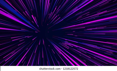 Abstract speed background. Centric motion of star trails. 3D rendering. Starburst dynamic lines or rays. Abstract particles