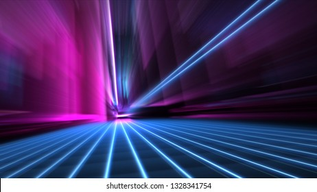 Abstract speed blurred 80s blue and pink neon style city street at night 4k wallpaper