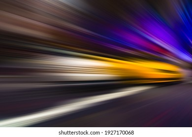 ABSTRACT SPEED MOTION BACKGROUND, COLORFUL RAYS ON DARK OF RACING VEHICLE ON THE NIGHT CITY HIGHWAY ROAD