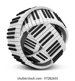 Abstract Sphere from Piano Keys isolated on white background