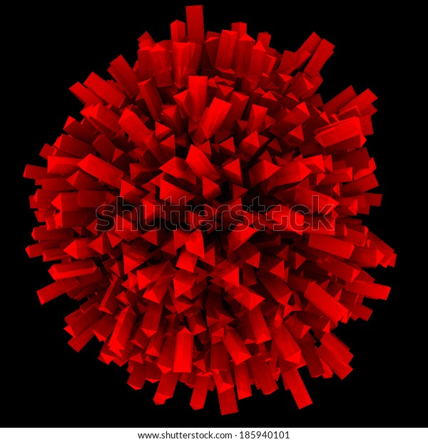 Abstract sphere red. Isolated render on a black background