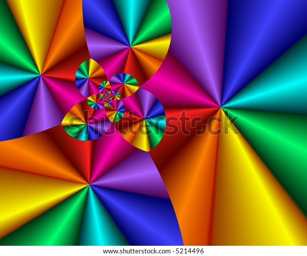 Abstract spiral of rainbow colored bursts.