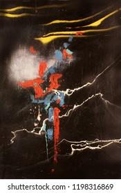 Abstract splash on black background. Surreal painting artwork.