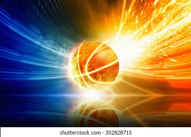 Abstract sports background - burning basketball with reflection, orange and blue glowing lights
