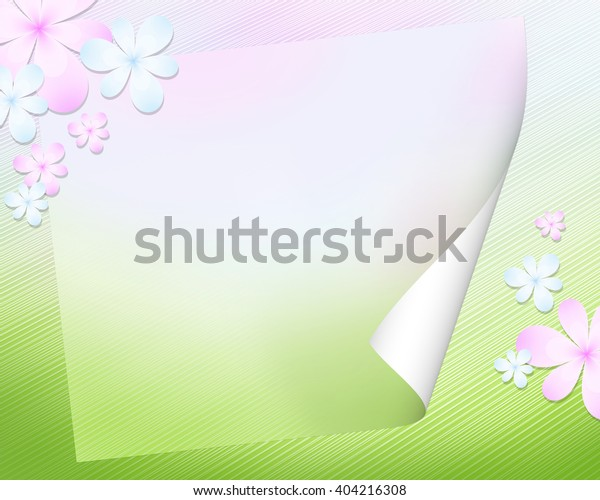 Abstract spring background with a form for the letter and flowers. Saturated colourful pink, blue and green spots create illusion of space. Rest, harmony, spring mood.