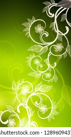 Abstract spring background with green floral ornament