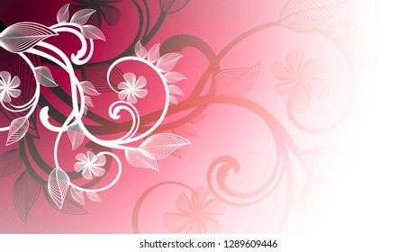 Abstract spring background with pink floral ornament