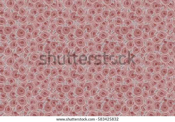 Abstract spring decorative roses seamless pattern in red colors. Raster rose icon.