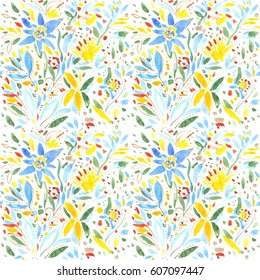 Abstract Spring Summer Watercolor Flowers Wallpapers Seamless Floral Illustration