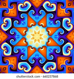 Abstract square background. Symmetric round decorative ornament pattern. Bright colors.
