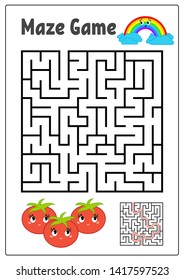 Abstract square maze. Kids worksheets. Activity page. Game puzzle for children. Cute cartoon tomato and rainbow. Labyrinth conundrum.  illustration. With answer.